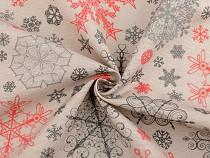 Tkanina dekoracyjna Loneta śnieżynki