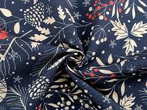 Christmas Decorative Fabric Loneta Rowanberries and Pine Cones
