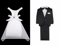 Textilní dekorace ženich a nevěsta 50 mm