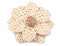 Textil aplikáció / felvarrható juta virág