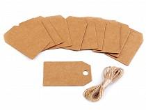 Cimke / névkártya juta madzaggal karácsonyfa, szív, maci, csipesz