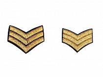 Military Gold Sergant Stripes Iron on Patch