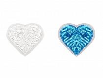 Aplicație termoadezivă - inimă cu paiete