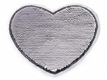 Große Applikation Herz mit beidseitigen Pailletten