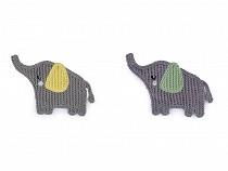 Háčkovaná textilní aplikace / nášivka slon