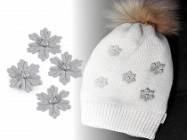 Winter Snowflake Applique / Flower with Rhinestone Ø30 mm