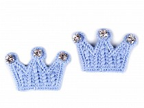 Crochet Applique / Crown Sew-on Patch with Rhinestones