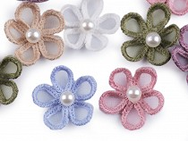 Organza Flower Applique with Pearl Bead Ø25 mm