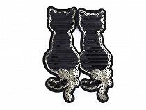 Aufbügler Katze mit doppelseitigen Pailletten