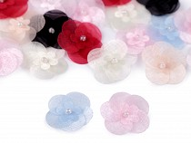 Organza Flower with Bead Ø25 mm