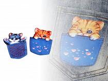 Aplică textilă pisică în buzunar