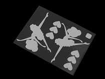 Glowing Iron-on Patch Ballerina, Star, Paw, Dinosaur, Car 9.5x12.5 cm