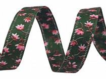 Wstążka dwustronna kwiaty szerokość 10 mm