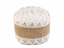 Jute Ribbon with Cotton Lace width 54 mm