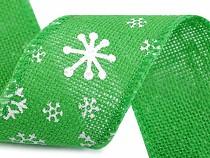 Vánoční jutová stuha vločky šíře 60 mm
