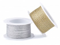 Svatební lurexový provázek / stuha s drátem šíře 2-3 mm