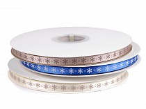 Christmas Satin Ribbon Snowflakes width 10 mm