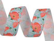 Ribbon Poppies printing width 25 mm