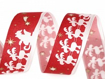 Christmas Ribbon Santa with Reindeer width 25 mm