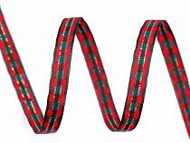 Vánoční károvaná stuha s lurexem šíře 6 mm