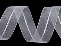 Ruban en organza plissé avec lurex, largeur 26 mm