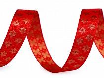 Vánoční plátnová stuha hvězdy šíře 15 mm