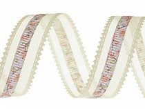 Organza Ribbon with Flowers width 24 mm