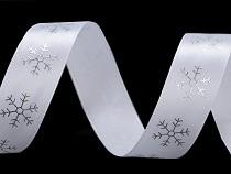Panglică satinată cu fulgi de zăpadă, lățime 20 mm