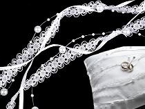 Svatební stuha trojitá s perlami