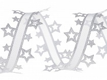 Vánoční vysekávaná stuha hvězdy s lurexem šíře 40 mm
