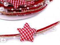 Vánoční stuha hvězdy a perly