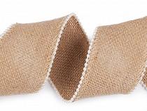 Jutová stuha s perličkami šíře 65 mm