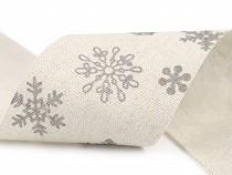 Weihnachtsleinenband Schneeflocken Breite 63 mm