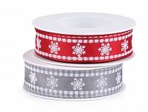 Karácsonyi szalag pehellyel és dróttal szélessége 25 mm