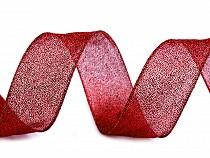 Vánoční brokátová stuha šíře 40 mm s glitry a drátem