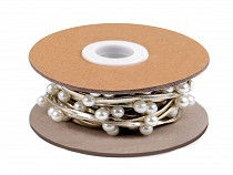 Șnur din piele ecologică cu perle, lățime 3 mm