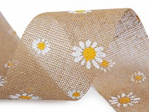 Frühling Juteband geschnitten Margerite Breite 75 mm