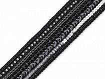 Víceřadý prýmek s flitry, korálky a broušenými kamínky šíře 39 mm