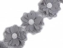 Flower Trim with Beads width 58 mm