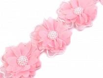 Flori textile cu perle pe bandă tul, lățime 58 mm