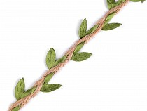 Șnur decorativ din iută cu frunze, lățime 25 mm