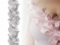 Bandă organza cu flori din șifon, lățime 100 mm
