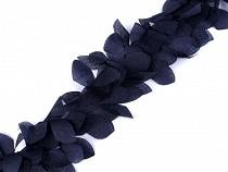 Borte mit Blättern / Blumen auf Monofil Breite 10 cm mit Perlmutt Effekt