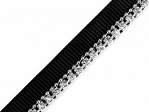 Clothing Braid / Trimming with Rhinestone Chain, width 9 mm