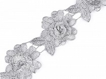 Embroidery Lace Trim 3D Flower with Lurex width 60 mm