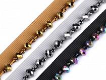 Borte / Paspelband mit geschliffenen Perlen Breite 15 mm