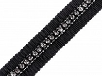 Clothing Braid with Rhinestones and Chain width 15 mm