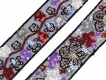 Bandă decorativă cu paiete, lățime 35 mm