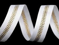Lampas / oděvní stuha s lurexem šíře 20 mm imitace zipu