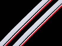 Paspulka / kédr / rypsová oděvní stuha trikolora šíře 9 mm